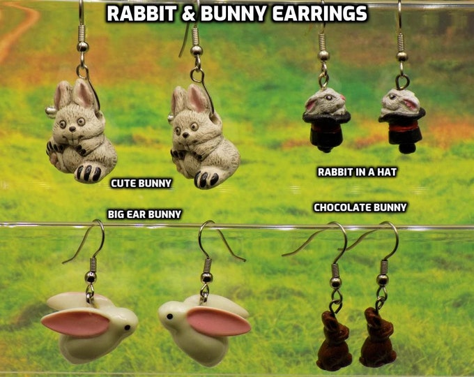 Rabbit and Bunny 3D Earrings - Cute Bunny - Rabbit in Hat - Big Ear Bunny - Chocolate Bunny