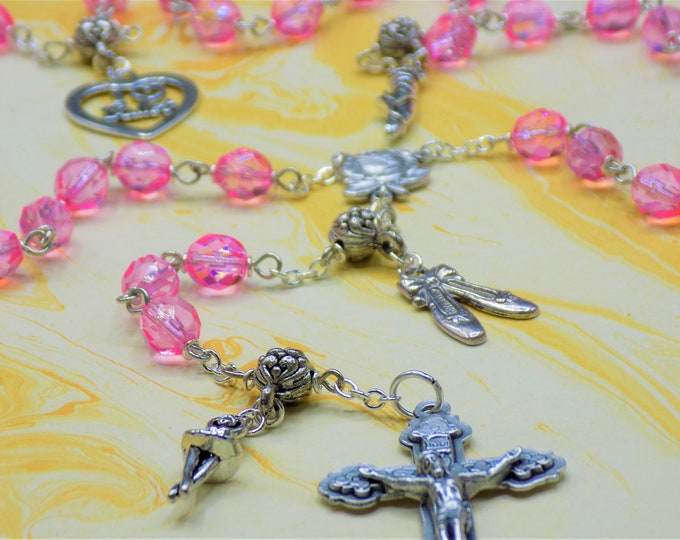 Ballerina Rosary - Czech Pink AB Crystal Beads - Pewter Father Beads - Silver Ballerina Charms -Italian Rose Center -Italian Hearts Crucifix