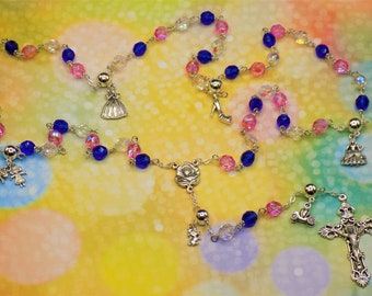 Cinderella Rosary - Czech Blue, Pink and Clear Glass Beads - Pewter Father Beads - Cinderella Charms - Italian Rose Center -Italian Crucifix
