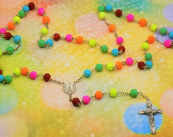 Neon Rainbow Rosary - Soft Touch Rubberized Rainbow Glass Beads - Italian Silver Mary and Angels Center - Italian Silver Angels Crucifix