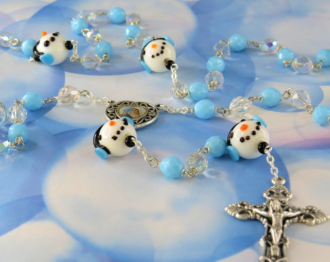 Snowman Rosary - Czech AB Clear & Blue Crystal Beads - Handmade Snowman Beads -Medjugorje and Divine Mercy Center -Italian Filigree Crucifix