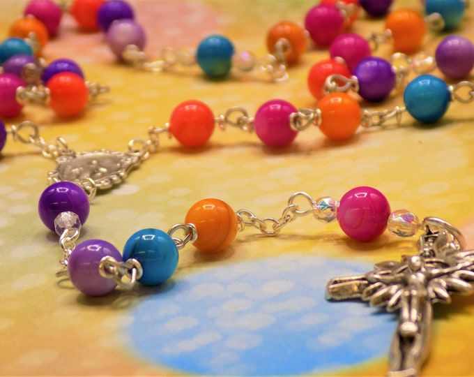 Rainbow Gemstone Rosary - Mother of Pearl Multi Color Gemstone Beads - Italian Mary Miraculous Center - Italian Silver Sunburst Crucifix