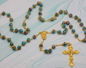 Turquoise Cloisonne Rosary - Turquoise 8mm Cloisonne Metal Beads - Italian Our Lady of Fatima Water Center - Italian Filigree Crucifx