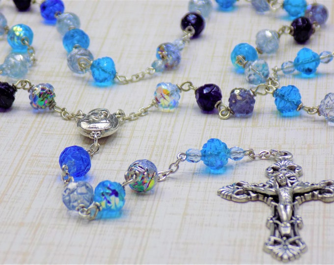 Czech Multi Blue Rosebud Rosary - Czech Crystal Rosebud Multi Blue Beads - Mary Center with Earth from Jerusalem - Italian Filigree Crucifix