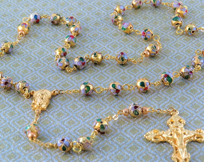 Gold Flower Cloisonné Rosary - Gold 8mm Cloisonné Metal Beads - Italian Silver Our Lady and Fatima Center - Italian Silver Filigree Crucifix
