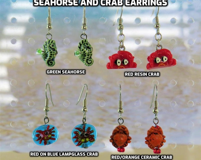 Seahorse & Crab Earrings - Green Ceramic Seahorses - Red Resin Crabs - Red on Blue Lampglass Crabs - Red/Orange Ceramic Crabs
