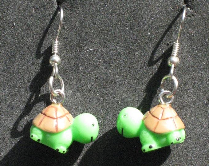 """Turtle Earrings - Sea Turtles """"Glow in the Dark""""  - Light Green Turtles - Green Turtles - 3 Different Styles to Choose From"""