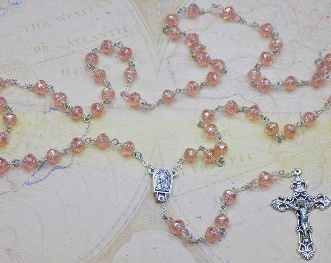 Czech Rosaline Rosebud Rosary - Rosaline Luster Rosebud Glass 8mm Beads - Water from Lourdes, France Center-Italian Silver Filigree Crucifix