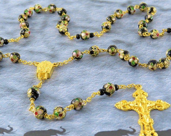 Black Flower Cloisonné Rosary - Cloisonné Metal Black 8mm Beads - Italian Silver Fatima Center with Water - Italian Silver Filigree Crucifix