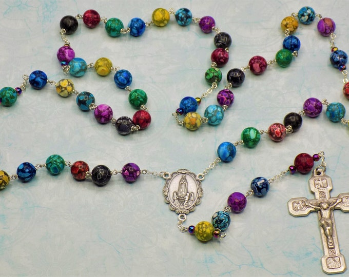 Multi Color Howlite Rosary - Semi Precious Multi Color Howlite 10mm Beads - Italian Fatima Center - Italian Stations of the Cross Crucifix