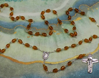 Mary's Tears Topaz Rosary - Czech Topaz Teardrop Crystal Beads - Italian Medjugorje Center with Earth - Italian Jesus and Mary Crucifix