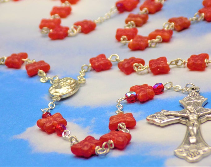 Red Butterfly Rosary - Czech Glass Red Butterfly Beads - Mary & Child Center with Soil from Jerusalem - Italian Grapes and Vine Crucifix