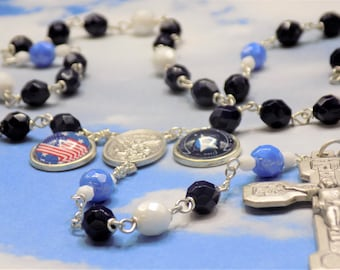 US Space Force Rosary - Czech Navy, White and Blue Crystal Beads - St Michael Center- US Space Force & Flag Charm- Italian Stations Crucifix
