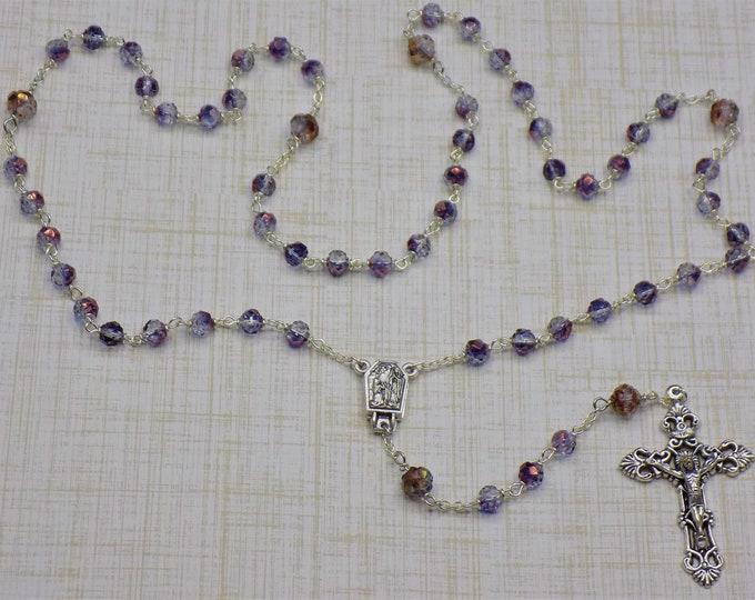 Czech Amethyst Rosebud Rosary - Czech Crystal Amethyst Rosebud Beads - Italian OL Lourdes with Water Center -Italian Filigree Crucifix