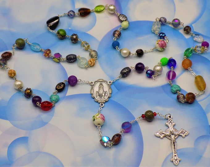 World Peace Rosary -Assorted Beads Coming Together in Prayer for a One of a Kind Rosary-Italian Lady of Fatima Center-Italian Flare Crucifix