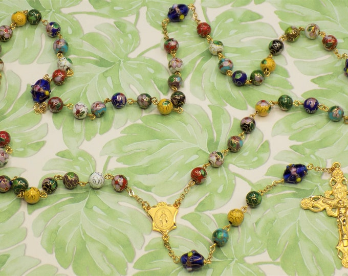 Cloisonné Multi-Color Rosary - Cloisonné Multi-Color Metal Beads - Lamp Glass Father Beads - Italian Imm Conception Center -Italian Crucifix