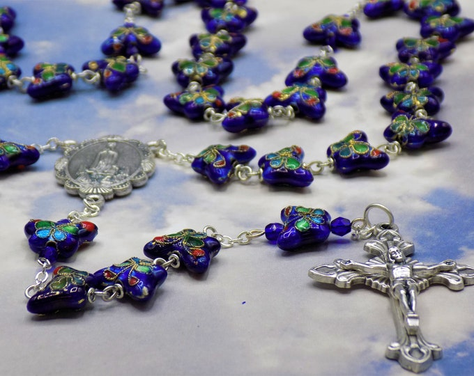 Blue Cloisonné Butterfly Rosary - Royal Blue Cloisonné Butterfly Metal Beads - Italian OL of Fatima Center - Italian Sunburst Flare Crucifix