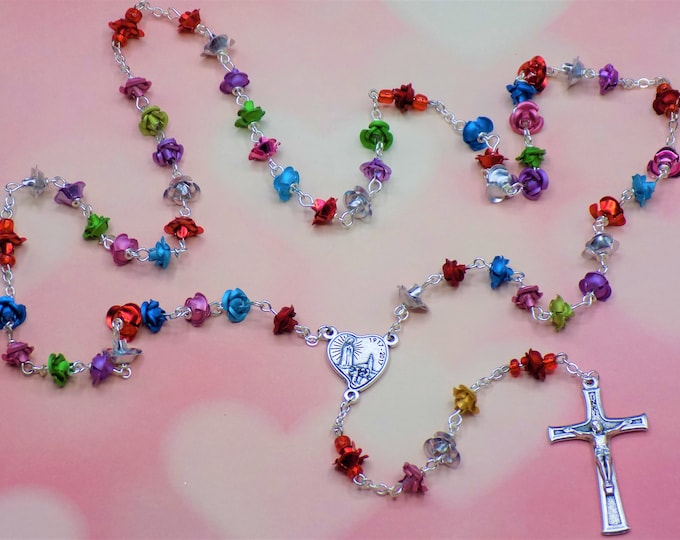 Rose Flower Rosary - Multi Color Metal Rose Flower Beads - Czech Glass Pearl Beads - Our Lady of Fatima 100th Anniversary Crucifix & Center
