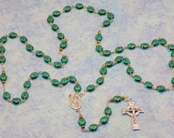 Shamrock Rosary - Czech Teal Shamrock Glass Beads - Italian Silver St Patrick & St Bridget Center - Italian Silver Celtic Crucifix