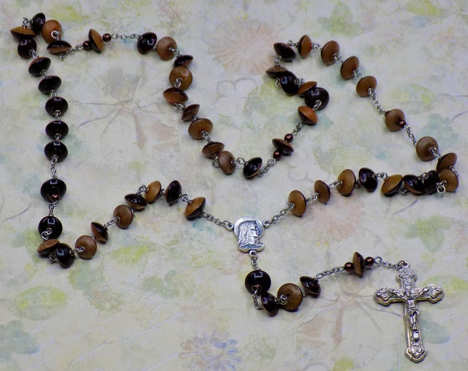Natural Buri Seed Rosaries - Buri Seed Orange-Brown or Blue-Gray Beads - Our Lady of Fatima, Portugal Center -  Italian Hearts Crucifixes