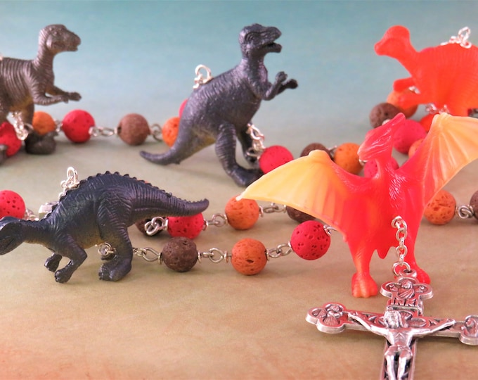 Dinosaur Rosary - Red, Orange & Brown Lava Gemstone Beads - Textured Dinosaur Beads -Fatima Center With Earth-Italian Eucharistic Crucifix