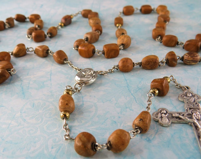 Brown Picture Jasper Rosary - Brown Picture Jasper Nugget Beads - Mary & Child Center Contains Earth from Jerusalem - Eucharistic Crucifix