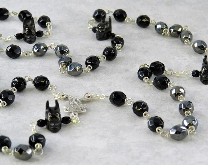 Batman Rosary - Czech Black and Gray 8mm Crystal Beads - 3D Batman Father Beads - Italian St Michael Center - St Benedict Black Crucifix