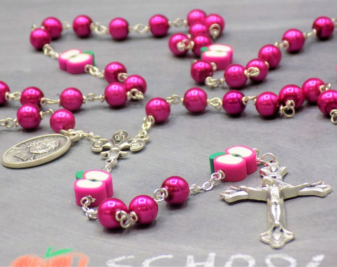 Fuchsia Teacher Rosary - Fuchsia Glass Beads - Polymer Clay Apple Beads - Italian Center - Italian Crucifix -St John Baptist DL Salle Medals