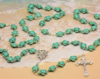 Turtle Rosaries - Turquoise Blue & Multi Color Stone Turtle Beads - Italian Our Lady of Lourdes Center - Italian Eucharistic Crucifix