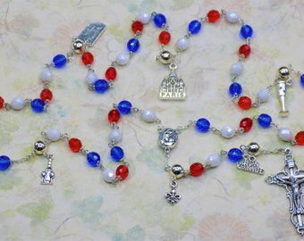 Rosary of France - Czech Blue, White & Red Glass Beads - Round Pewter Father Beads - French Charms - Mary with Soil Center -Italian Crucifix