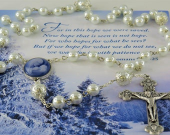 Cameo and Pearl Rosary - White Glass Pearl 8mm and 10mm Beads - Blue Cameo Mother & Child Rosary Centerpiece - Italian Eucharistic Crucifix