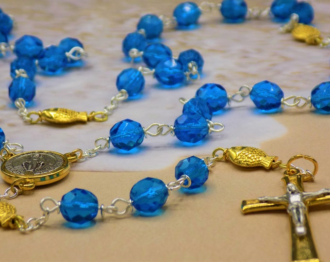 Fish Rosary - Czech Aqua Blue Crystal Beads - 18k Gold Fish Beads -Italian Gold Miraculous Medal Center - Italian Silver & Gold Crucifix