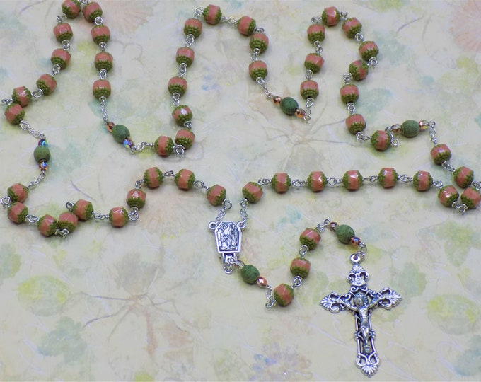 Cathedral Pink & Green Rosary - Czech Cathedral Pink and Green Beads - Italian Silver Lourdes Water Center -Italian Silver Filigree Crucifix