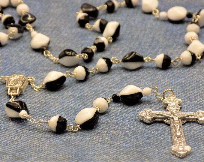 Czech Black & White Rosary - Czech Half Black and Half White Glass Nugget/Round Beads - Lady of Lourdes Center -Italian Eucharistic Crucifix