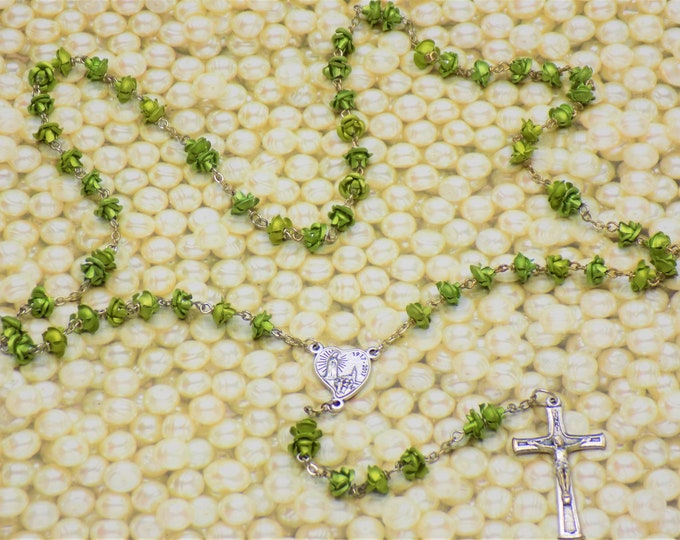Lt Green Rose Flower Rosary - Lt Green Metal Rose Flower Beads - Czech Glass Pearl Beads - Our Lady of Fatima, Portugal Crucifix and Center