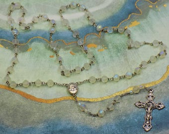 """Czech Rosebud Rosary - Frosted AB Crystal Rosebud Glass Beads - Center has Earth from the Jerusalem """"Holy Land"""" - Italian Filigree Crucifix"""