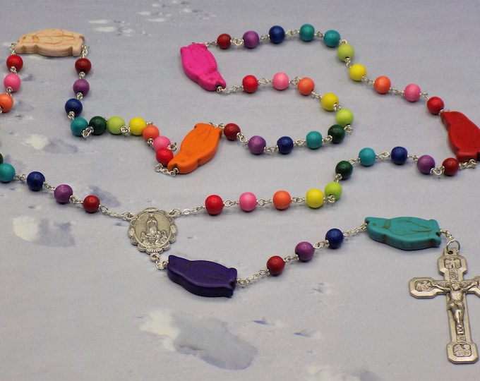 Rainbow Penguin Rosary - Colored Hand-Waxed Cheesewood Beads - Dyed Turquoise Penguin Beads - Italian Fatima Center - Ital Stations Crucifix
