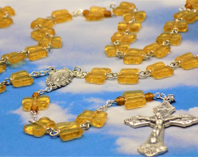 Light Amber Butterfly Rosary - Czech Light Amber Crystal Butterfly Beads -Italian Miraculous Center -Italian Silver Grapes and Vine Crucifix