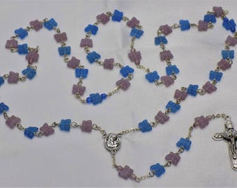 Butterfly Rosaries - Purple and Blue or Red & Pink Crystal Butterfly Beads - Mary Center with Soil from Jerusalem - Italian Angels Crucifix