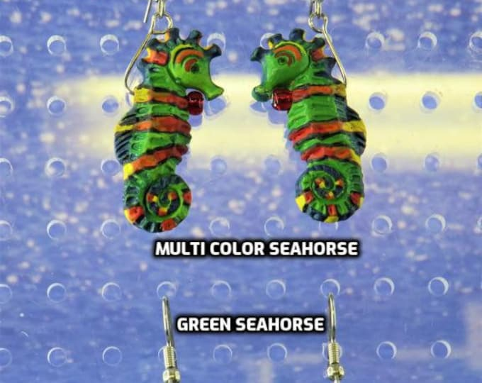 Seahorse Earrings - Green, Red and Yellow Seahorses - Green Seahorses - 2 Different Styles to Choose From