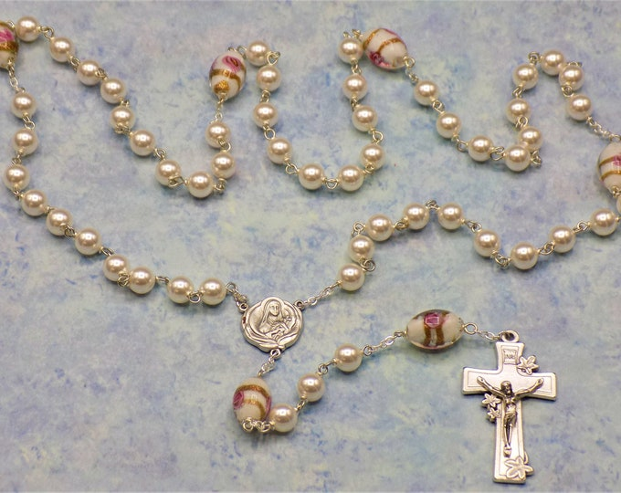Easter Egg Rosary - Swarovski White Pearl Beads - Lamp Glass White Egg Beads - Italian St. Therese Flower Center - Italian Lily Crucifix