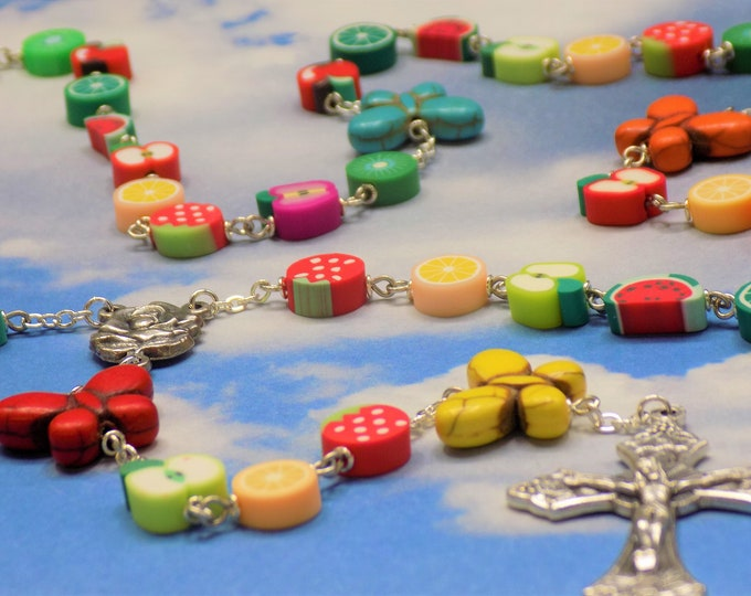 Harvest Butterfly Rosary - Polymer Clay Fruit Beads - Butterfly Stone Beads - Italian Rose & Mary Center - Italian Grapes and Vine Crucifix