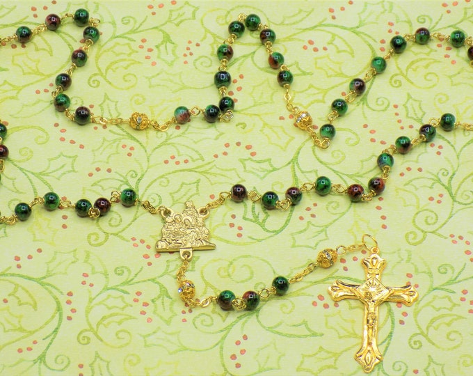 Christmas Rosary - Marble Green & Red Glass Beads - Gold Rhinestone Father Beads - Italian Gold Nativity Center - Italian Gold Crucifix