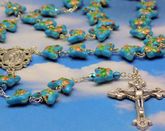 Blue Cloisonné Butterfly Rosary - Sky Blue Cloisonné Butterfly Metal Beads - Italian OL of Lourdes Center - Italian Sunburst Flare Crucifix