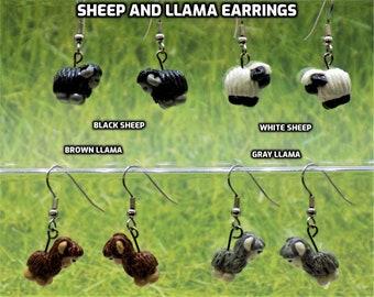 Sheep & Llama 3D Earrings - Black Sheep - White Sheep - Brown Llamas - Gray Llamas - 4 Different Styles