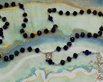 Vintage Tanzanite Rosary - Czech Vintage Fluted Tanzanite Crystal Beads - Center that Contains Soil from Jerusalem - Italian Silver Crucifix