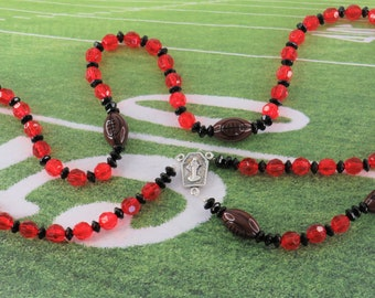 Football Sports Rosaries - Red and Black - Blue and White - Teal and Orange - Green and White - Black and Teal - Assorted Team Colors
