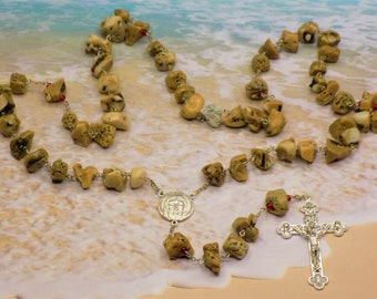 Coral Rosary - Natural Coral Nugget Beads - Czech Red Glass Beads - Italian Silver Holy Face Center - Italian Eucharistic Crucifix Rosary