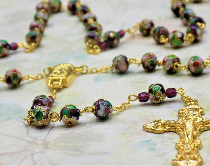 Purple Cloisonné Rosary - Purple 8mm Cloisonné Metal Beads - Italian Our Lady of Lourdes Water Center - Italian Filigree Crucifx