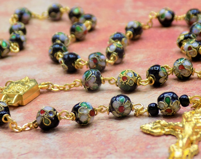 Black Cloisonné Rosary - Black 8mm Cloisonné Metal Beads - Czech Black Crystal Beads - Italian Fatima Water Center -Italian Filigree Crucifx